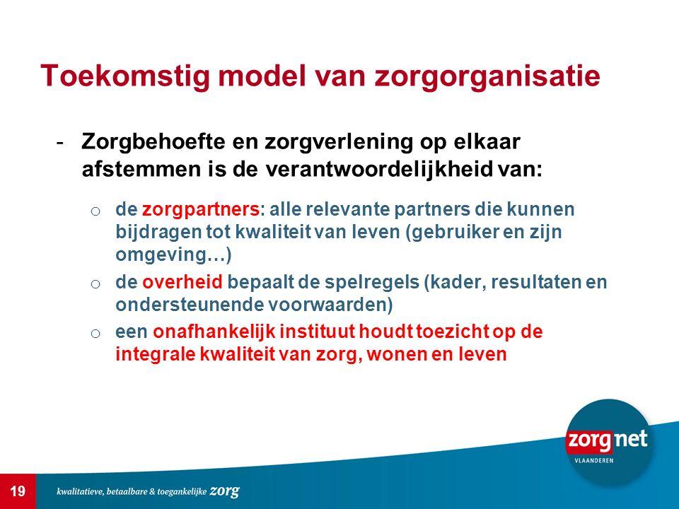 19 Toekomstig model van zorgorganisatie -Zorgbehoefte en zorgverlening op elkaar afstemmen is de verantwoordelijkheid van: o de zorgpartners: alle rel