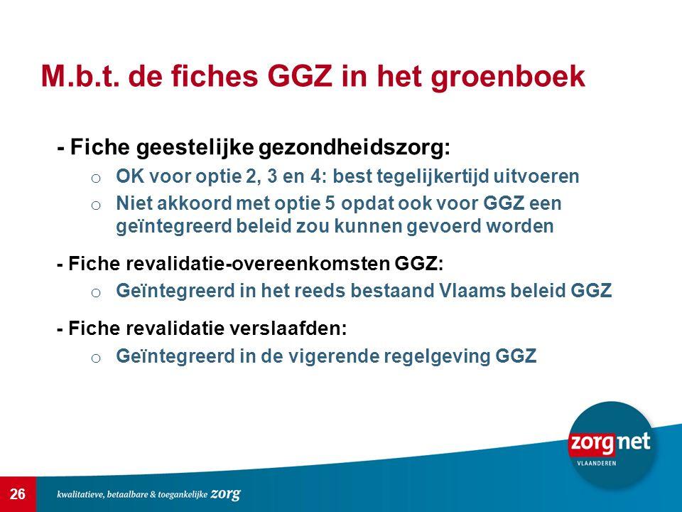 26 M.b.t. de fiches GGZ in het groenboek - Fiche geestelijke gezondheidszorg: o OK voor optie 2, 3 en 4: best tegelijkertijd uitvoeren o Niet akkoord