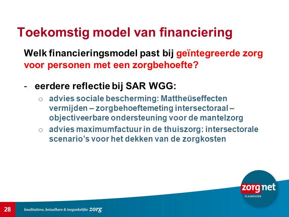 28 Toekomstig model van financiering Welk financieringsmodel past bij geïntegreerde zorg voor personen met een zorgbehoefte? -eerdere reflectie bij SA