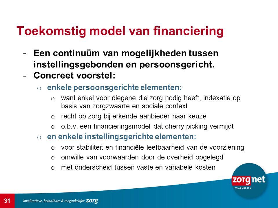 31 Toekomstig model van financiering -Een continuüm van mogelijkheden tussen instellingsgebonden en persoonsgericht. -Concreet voorstel: o enkele pers
