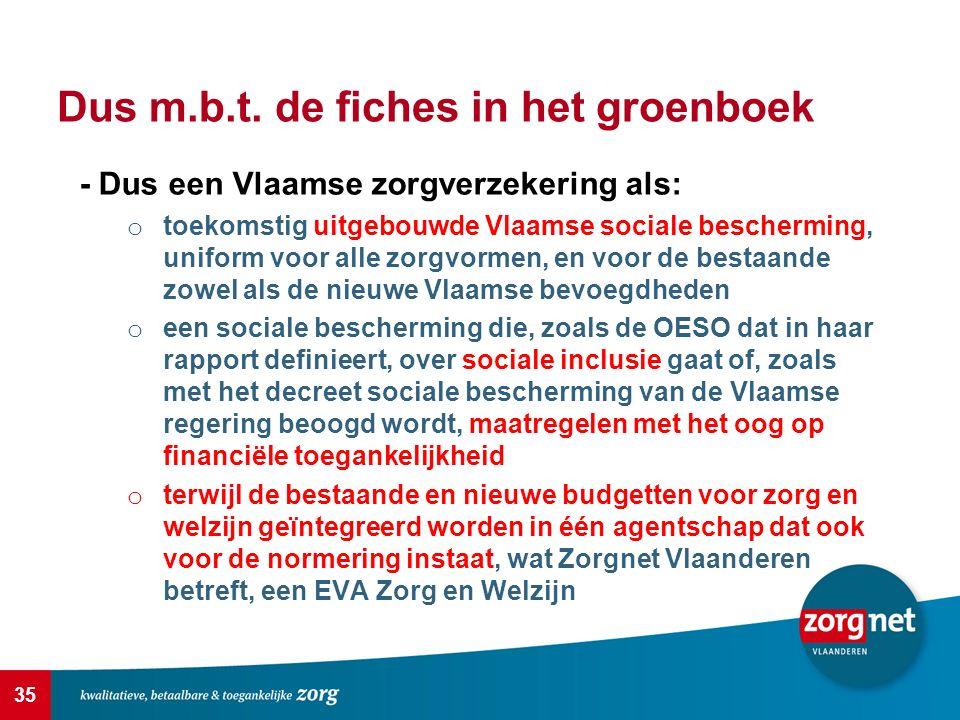 35 Dus m.b.t. de fiches in het groenboek - Dus een Vlaamse zorgverzekering als: o toekomstig uitgebouwde Vlaamse sociale bescherming, uniform voor all