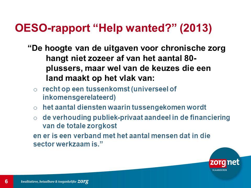 """6 OESO-rapport """"Help wanted?"""" (2013) """"De hoogte van de uitgaven voor chronische zorg hangt niet zozeer af van het aantal 80- plussers, maar wel van de"""