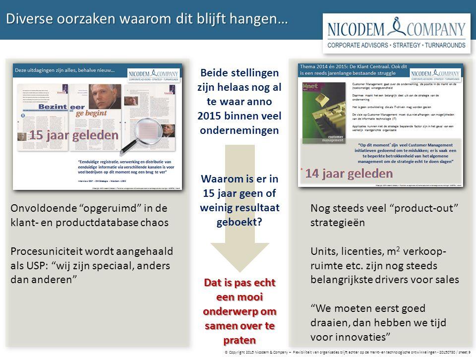 © Copyright 2015 Nicodem & Company – Flexibiliteit van organisaties blijft achter op de markt- en technologische ontwikkelingen - 20150730 / sheet 9 D