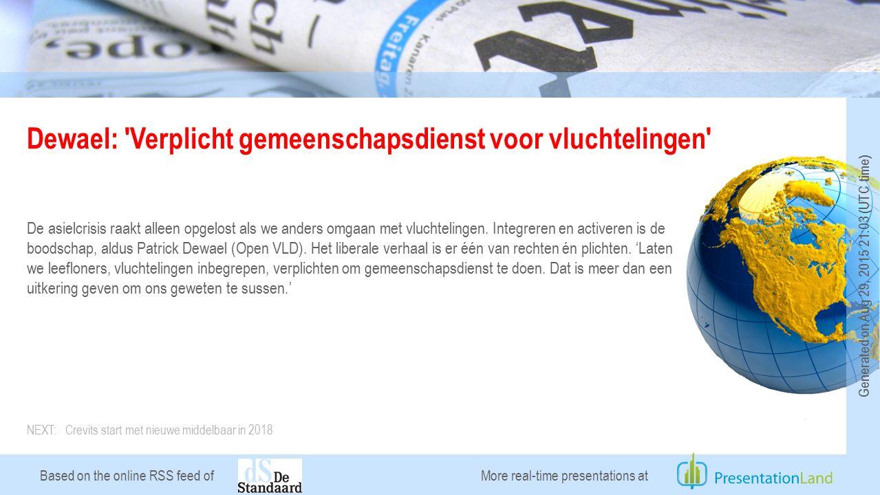 Based on the online RSS feed of Crevits start met nieuwe middelbaar in 2018 Vlaams minister van Onderwijs Hilde Crevits (CD&V) wil op 1 september 2018 starten met een vernieuwd middelbaar onderwijs.