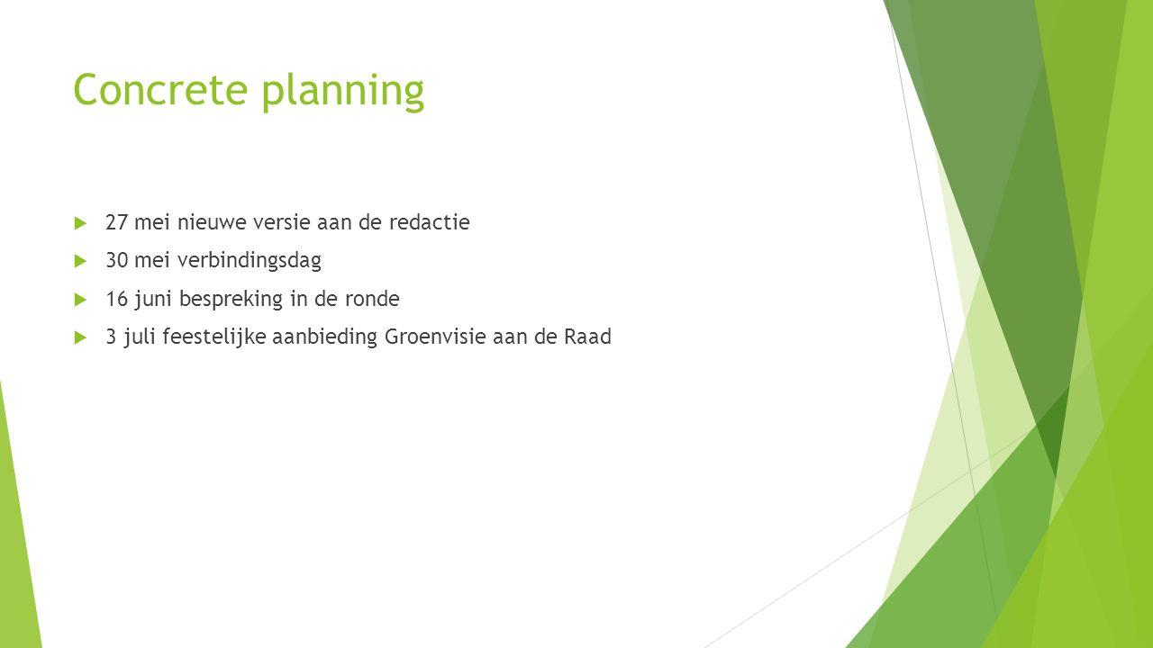 Concrete planning  27 mei nieuwe versie aan de redactie  30 mei verbindingsdag  16 juni bespreking in de ronde  3 juli feestelijke aanbieding Groe