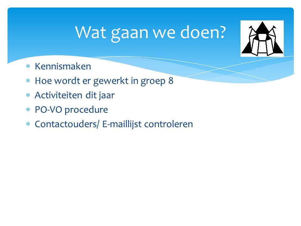  Kennismaken  Hoe wordt er gewerkt in groep 8  Activiteiten dit jaar  PO-VO procedure  Contactouders/ E-maillijst controleren Wat gaan we doen?