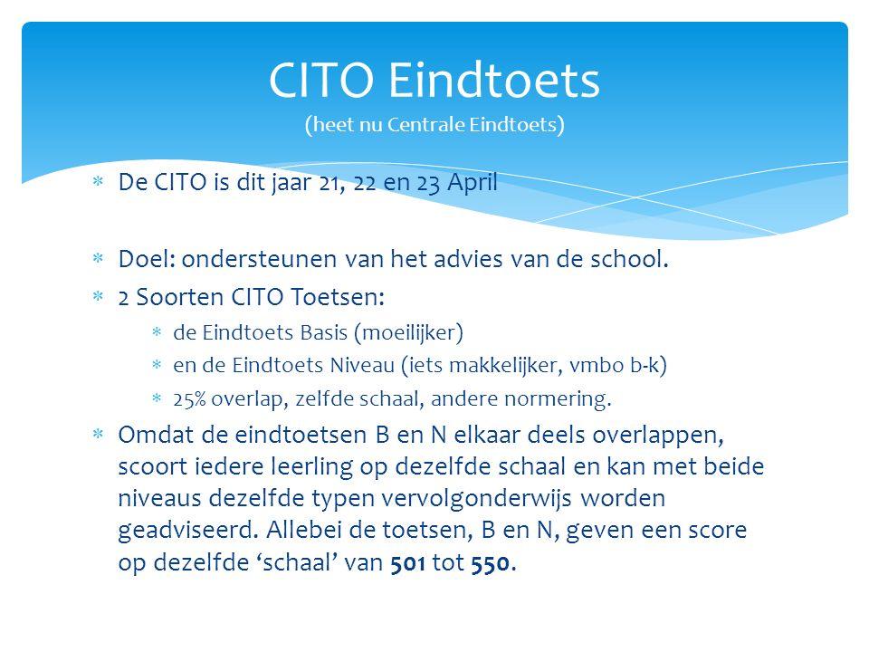  De CITO is dit jaar 21, 22 en 23 April  Doel: ondersteunen van het advies van de school.