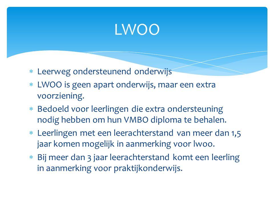  Leerweg ondersteunend onderwijs  LWOO is geen apart onderwijs, maar een extra voorziening.
