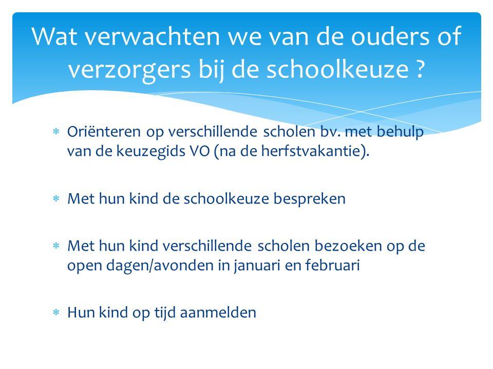  Oriënteren op verschillende scholen bv.met behulp van de keuzegids VO (na de herfstvakantie).
