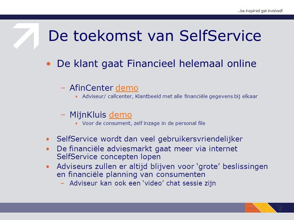De toekomst van SelfService De klant gaat Financieel helemaal online –AfinCenter demodemo Adviseur/ callcenter, Klantbeeld met alle financiële gegevens bij elkaar –MijnKluis demodemo Voor de consument, zelf inzage in de personal file SelfService wordt dan veel gebruikersvriendelijker De financiële adviesmarkt gaat meer via internet SelfService concepten lopen Adviseurs zullen er altijd blijven voor 'grote' beslissingen en financiële planning van consumenten –Adviseur kan ook een 'video' chat sessie zijn