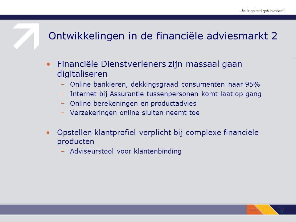 Ontwikkelingen in de financiële adviesmarkt 2 Financiële Dienstverleners zijn massaal gaan digitaliseren –Online bankieren, dekkingsgraad consumenten