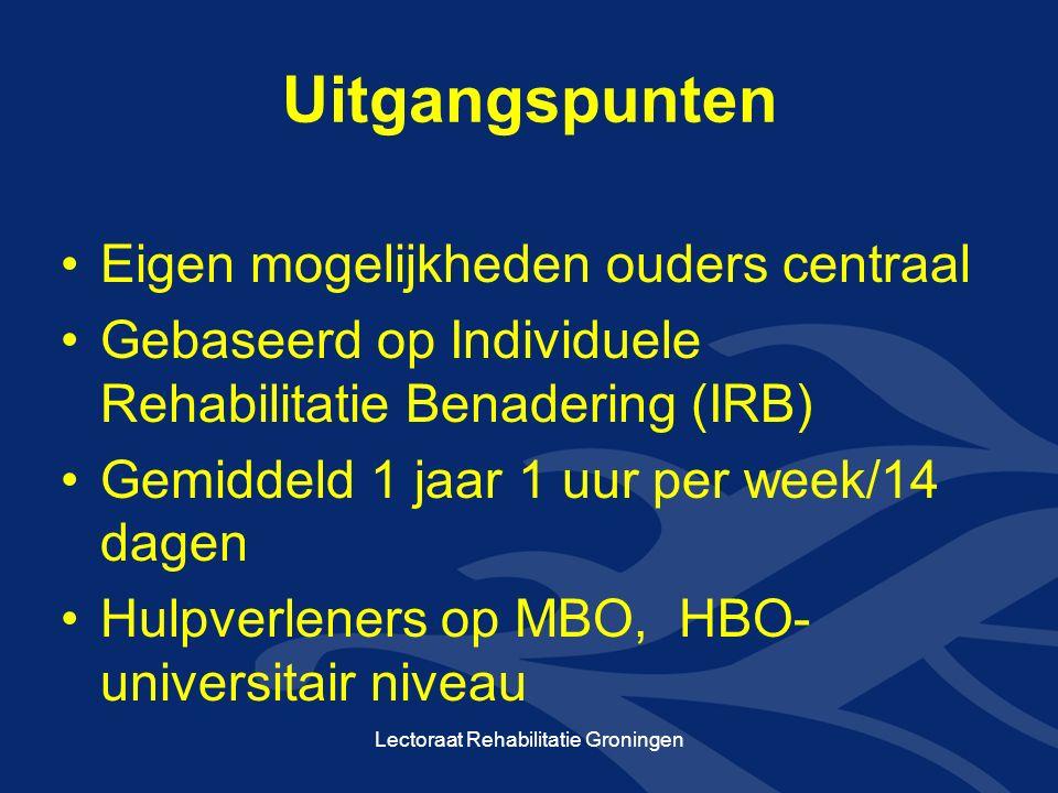Uitgangspunten Eigen mogelijkheden ouders centraal Gebaseerd op Individuele Rehabilitatie Benadering (IRB) Gemiddeld 1 jaar 1 uur per week/14 dagen Hulpverleners op MBO, HBO- universitair niveau Lectoraat Rehabilitatie Groningen