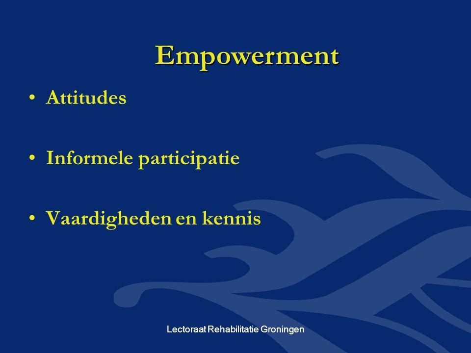 Attitudes Informele participatie Vaardigheden en kennis Empowerment Lectoraat Rehabilitatie Groningen