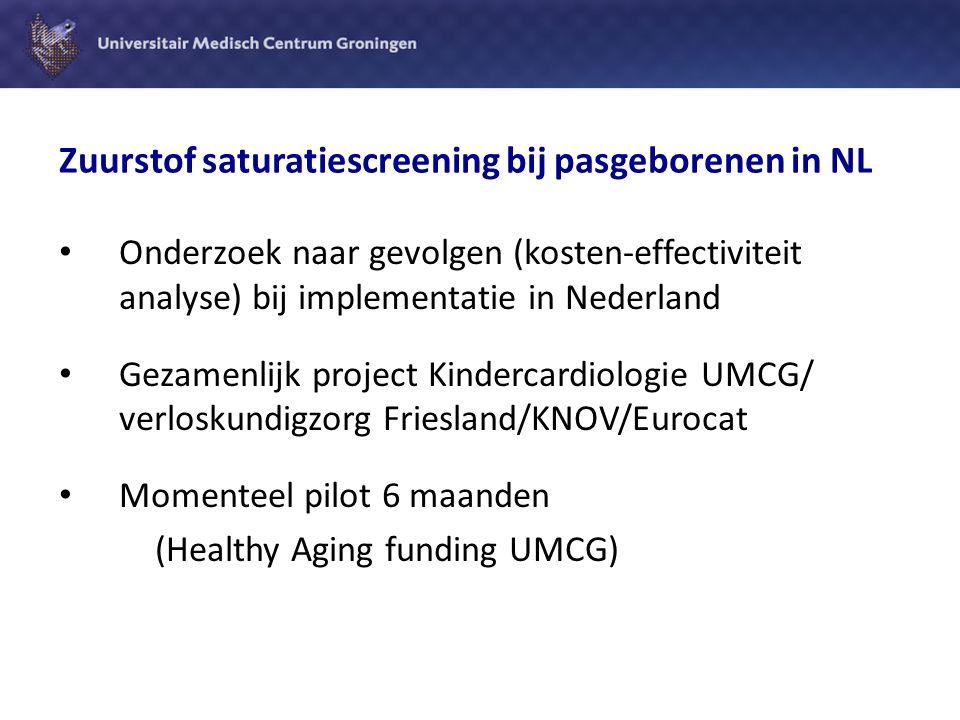Pilot onderzoek saturatiescreening in NL Beschrijven protocol:  hoe, wanneer, waar en door wie moet de screening worden uitgevoerd in Nederland  Welke knelpunten, wanneer en waar Voorbereiding op uitgebreider onderzoek naar kosten-effectiviteit implementatie in NL