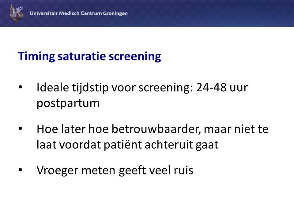 Zuurstof saturatiescreening bij pasgeborenen Meting 24-48 uur post partum:  Sensitiviteit 77%  Specificiteit 99,9% (bron: Systematic review by Thangaratinam et al, Lancet 2012: 2459-64)