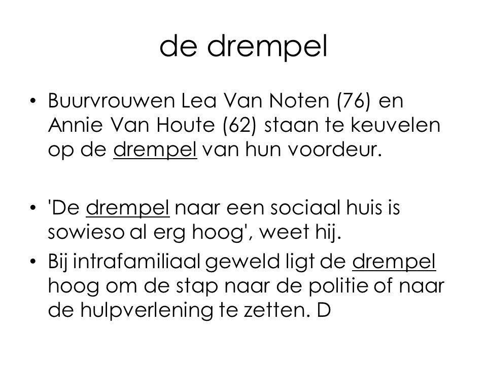 de drempel Buurvrouwen Lea Van Noten (76) en Annie Van Houte (62) staan te keuvelen op de drempel van hun voordeur. 'De drempel naar een sociaal huis