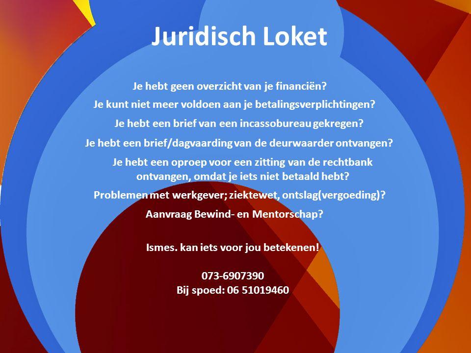 Juridisch Loket In het Ismes-Huis is een Juridisch Loket. Wil je hier gebruik van maken? Maak dan een afspraak met Inge 06-51019460