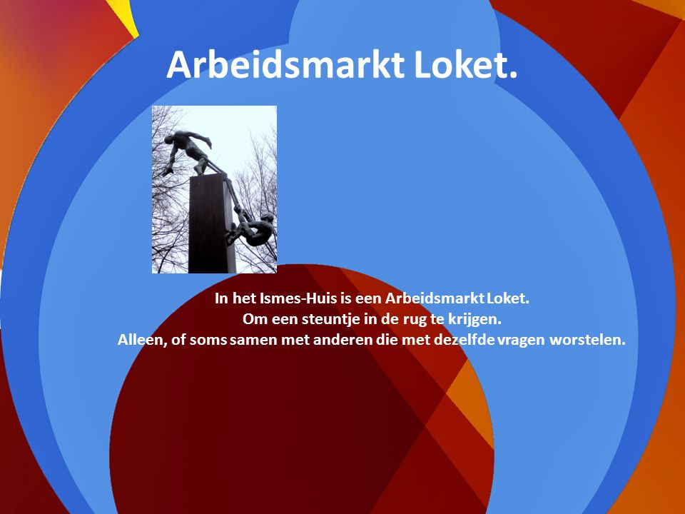Arbeidsmarkt Loket.In het Ismes-Huis is een Arbeidsmarkt Loket.