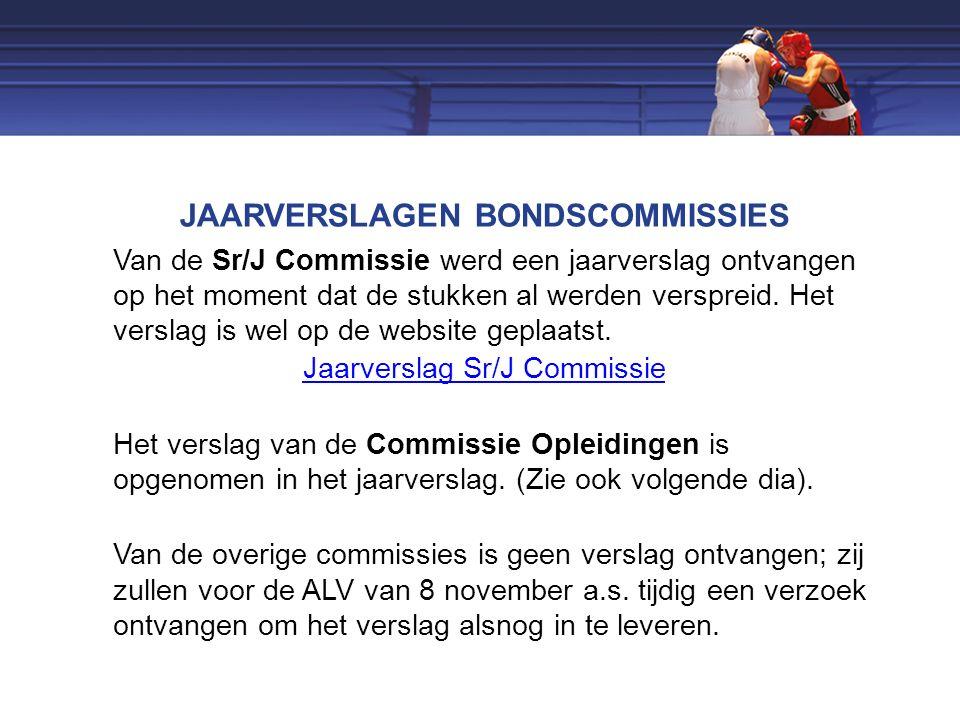 JAARVERSLAGEN BONDSCOMMISSIES Van de Sr/J Commissie werd een jaarverslag ontvangen op het moment dat de stukken al werden verspreid.