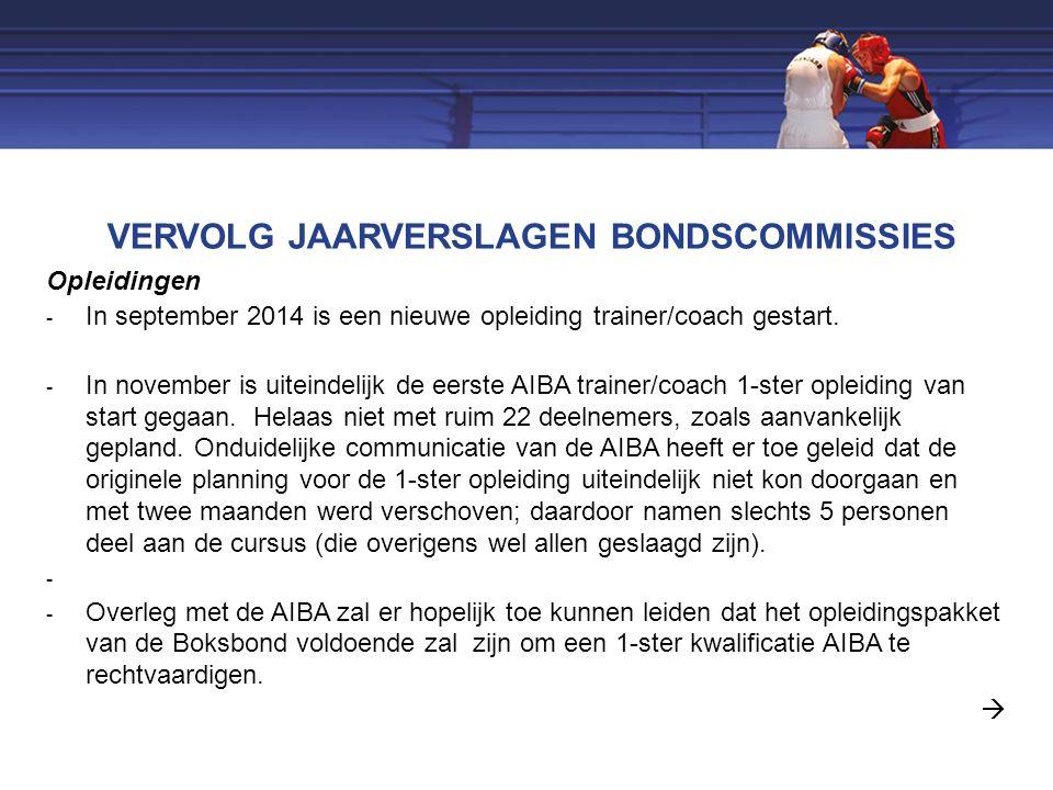 VERVOLG JAARVERSLAGEN BONDSCOMMISSIES Opleidingen  In september 2014 is een nieuwe opleiding trainer/coach gestart.