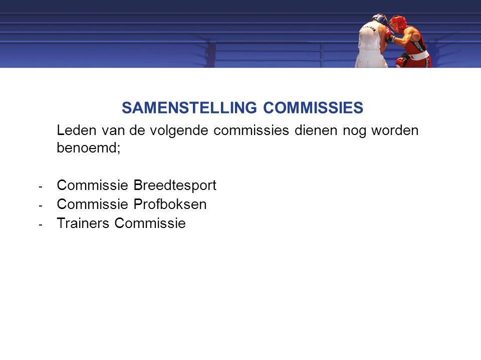 SAMENSTELLING COMMISSIES Leden van de volgende commissies dienen nog worden benoemd;  Commissie Breedtesport  Commissie Profboksen  Trainers Commissie