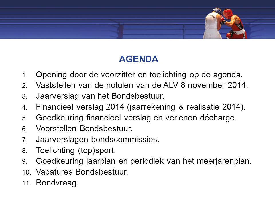 AGENDA 1. Opening door de voorzitter en toelichting op de agenda.