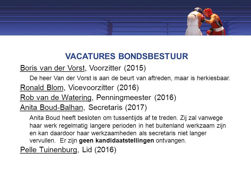 VACATURES BONDSBESTUUR Boris van der Vorst, Voorzitter (2015) De heer Van der Vorst is aan de beurt van aftreden, maar is herkiesbaar.