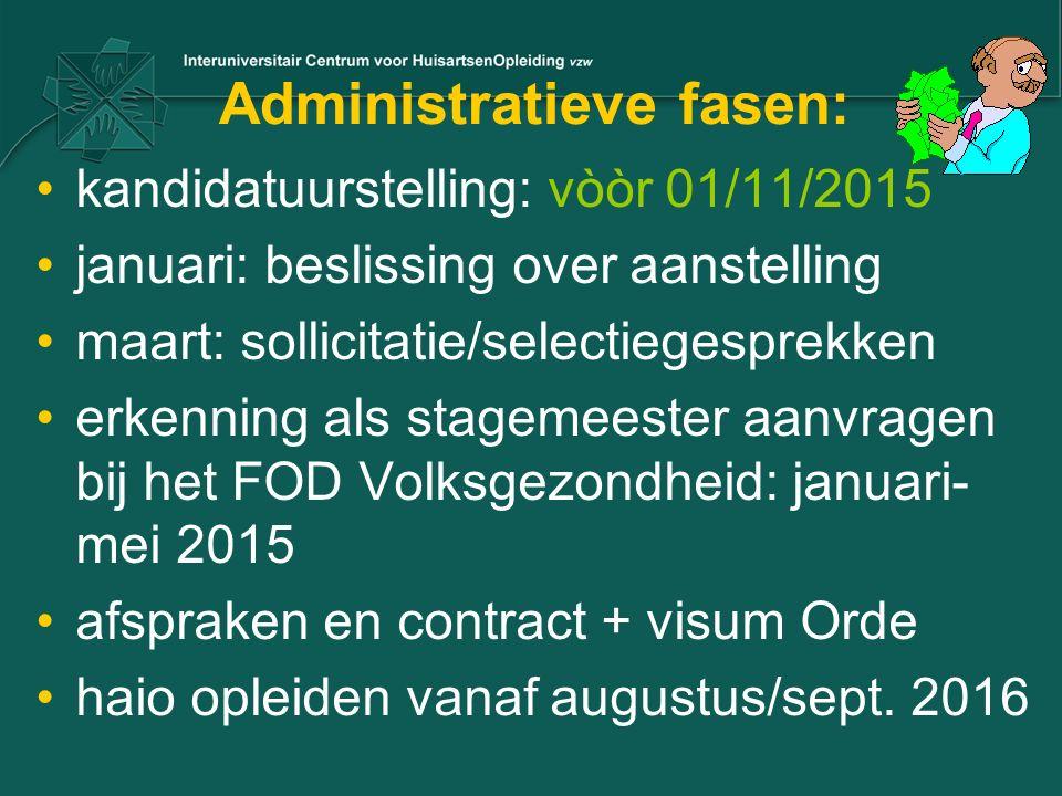 Administratieve fasen: kandidatuurstelling: vòòr 01/11/2015 januari: beslissing over aanstelling maart: sollicitatie/selectiegesprekken erkenning als