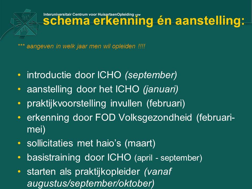 schema erkenning én aanstelling: *** aangeven in welk jaar men wil opleiden !!!! introductie door ICHO (september) aanstelling door het ICHO (januari)