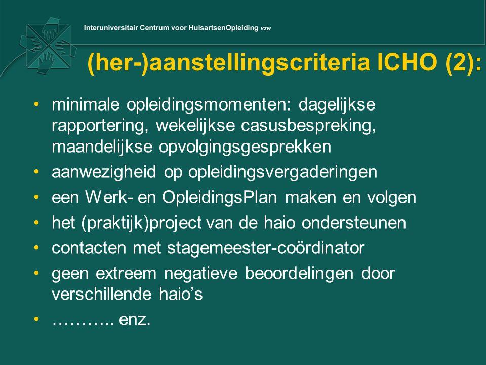 (her-)aanstellingscriteria ICHO (2): minimale opleidingsmomenten: dagelijkse rapportering, wekelijkse casusbespreking, maandelijkse opvolgingsgesprekk