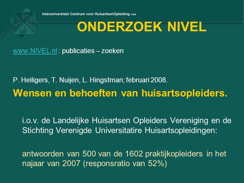 ONDERZOEK NIVEL www.NIVEL.nlwww.NIVEL.nl : publicaties – zoeken P. Heiligers, T. Nuijen, L. Hingstman; februari 2008. Wensen en behoeften van huisarts