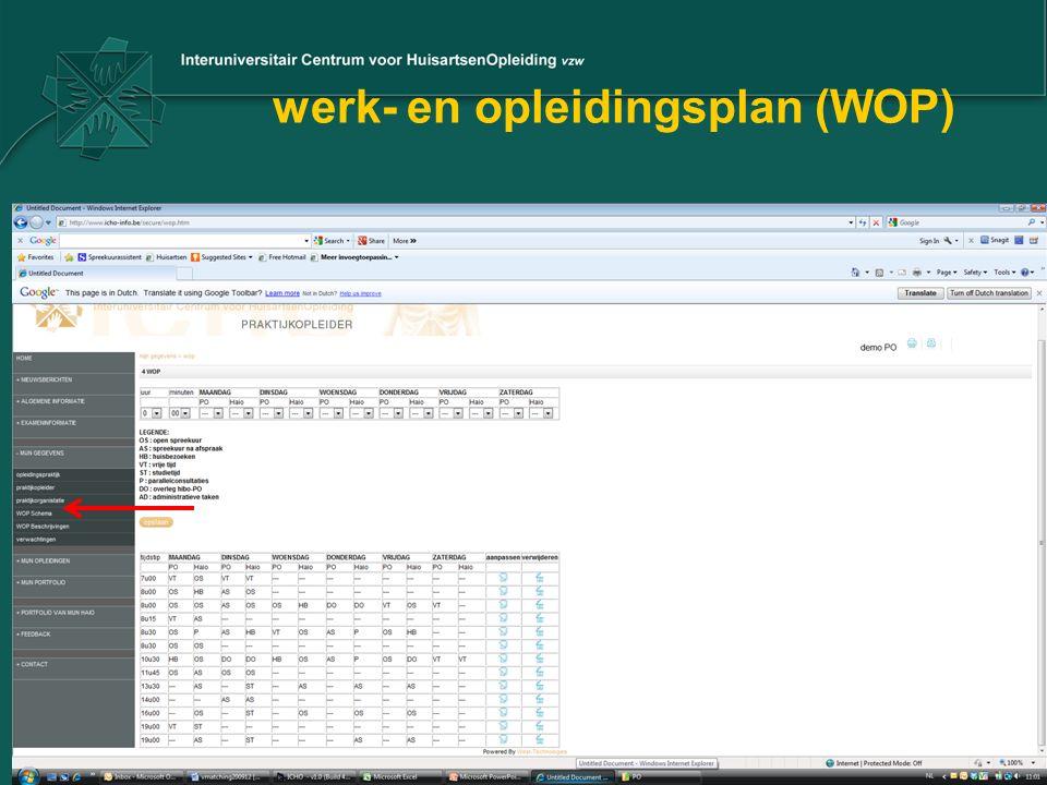werk- en opleidingsplan (WOP)