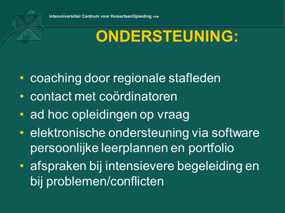 ONDERSTEUNING: coaching door regionale stafleden contact met coördinatoren ad hoc opleidingen op vraag elektronische ondersteuning via software persoo