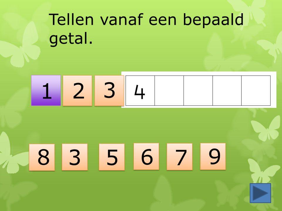 3 2 1 Tellen vanaf een bepaald getal. 8 3 6 7 5 9
