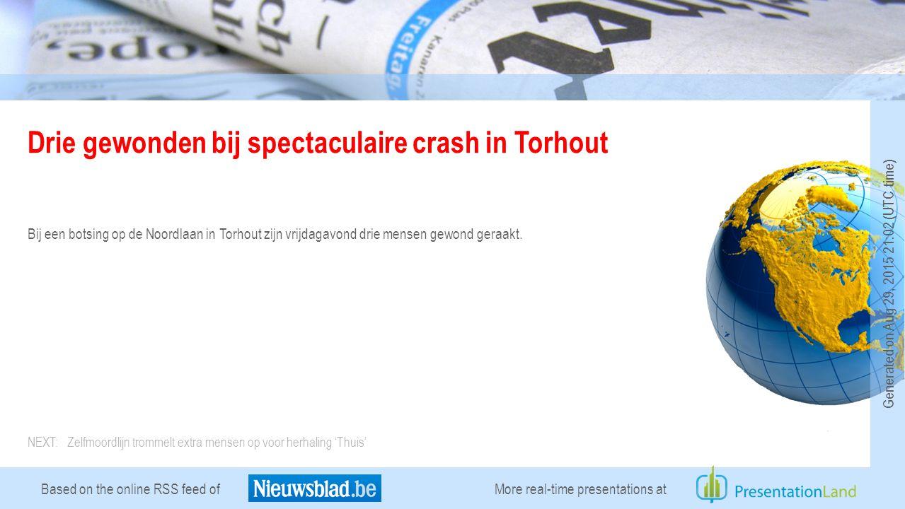 Based on the online RSS feed of Drie gewonden bij spectaculaire crash in Torhout Bij een botsing op de Noordlaan in Torhout zijn vrijdagavond drie mensen gewond geraakt.