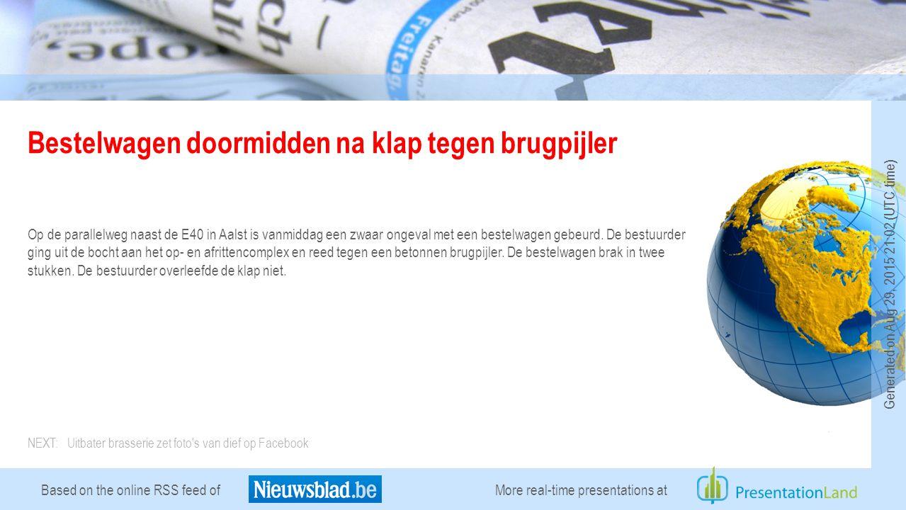 Based on the online RSS feed of Uitbater brasserie zet foto s van dief op Facebook Uitbater Jurgen Loyens van brasserie Ushuya in Mechelen heeft op Facebook foto s online gezet van een dief in zijn zaak.