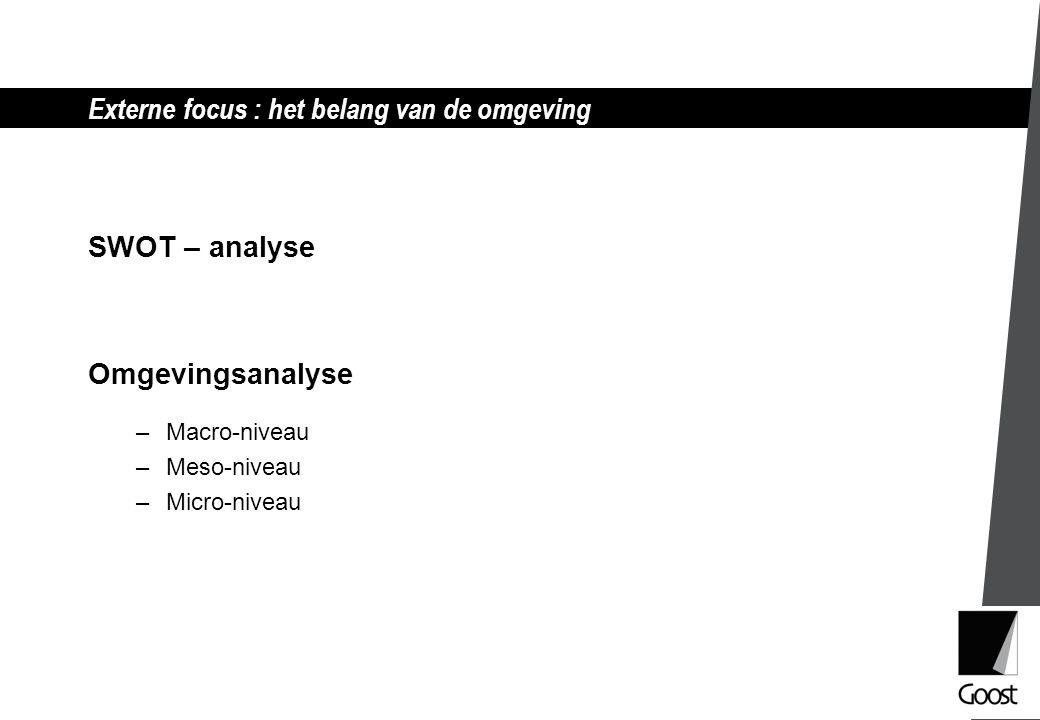Externe focus : het belang van de omgeving SWOT – analyse Omgevingsanalyse –Macro-niveau –Meso-niveau –Micro-niveau