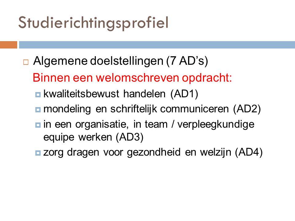 Studierichtingsprofiel  Algemene doelstellingen (7 AD's) Binnen een welomschreven opdracht:  kwaliteitsbewust handelen (AD1)  mondeling en schriftelijk communiceren (AD2)  in een organisatie, in team / verpleegkundige equipe werken (AD3)  zorg dragen voor gezondheid en welzijn (AD4)