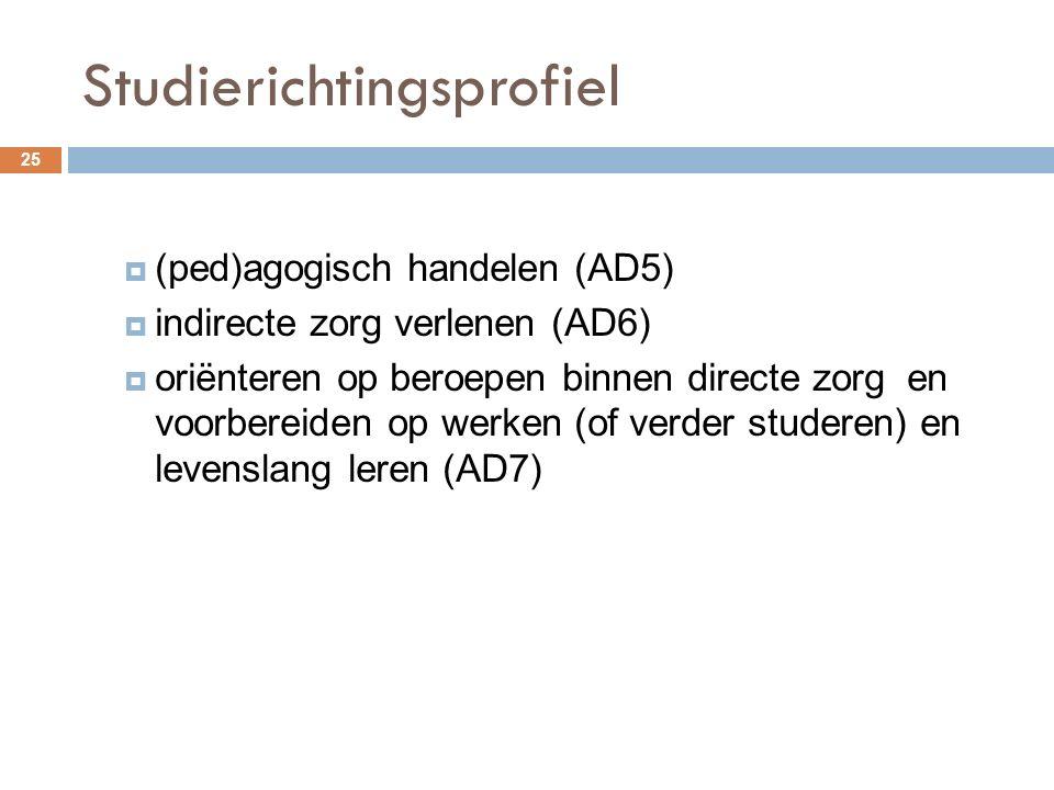 Studierichtingsprofiel 25  (ped)agogisch handelen (AD5)  indirecte zorg verlenen (AD6)  oriënteren op beroepen binnen directe zorg en voorbereiden op werken (of verder studeren) en levenslang leren (AD7)