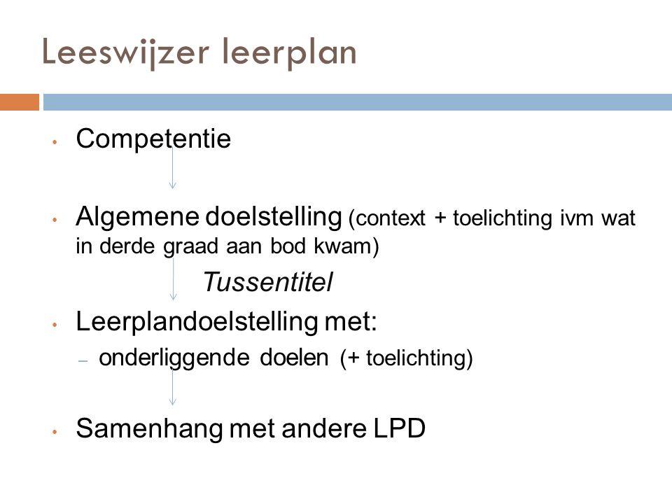 Leeswijzer leerplan Competentie Algemene doelstelling (context + toelichting ivm wat in derde graad aan bod kwam) Tussentitel Leerplandoelstelling met: – onderliggende doelen (+ toelichting) Samenhang met andere LPD