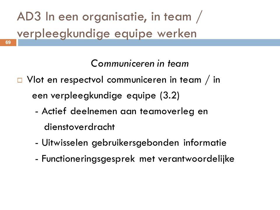 AD3 In een organisatie, in team / verpleegkundige equipe werken 69 Communiceren in team  Vlot en respectvol communiceren in team / in een verpleegkundige equipe (3.2) - Actief deelnemen aan teamoverleg en dienstoverdracht - Uitwisselen gebruikersgebonden informatie - Functioneringsgesprek met verantwoordelijke