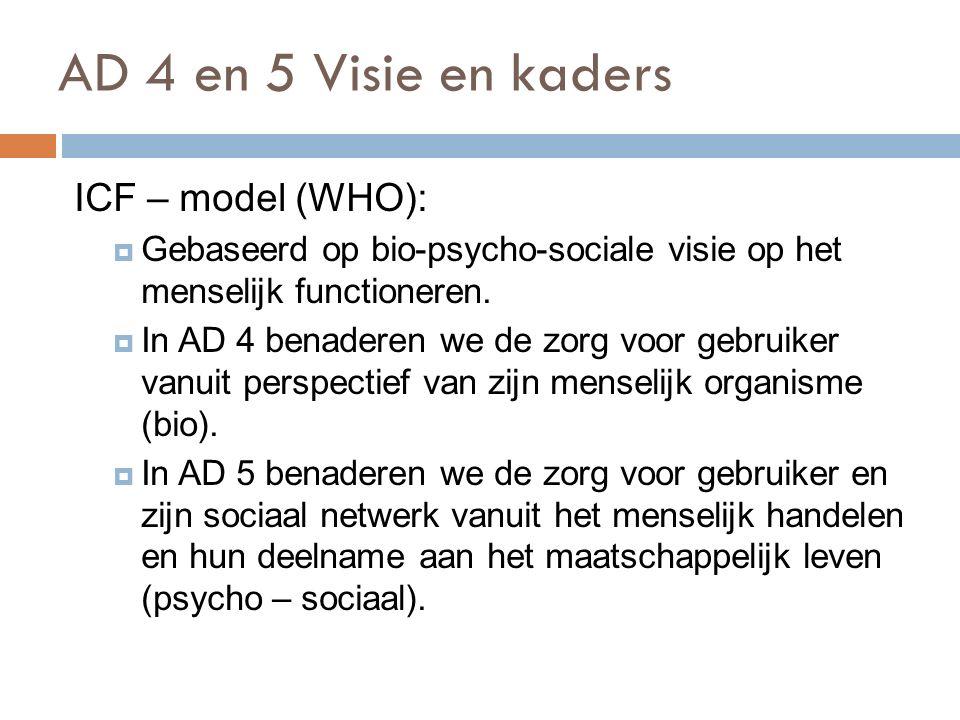 AD 4 en 5 Visie en kaders 73 ICF – model (WHO):  Gebaseerd op bio-psycho-sociale visie op het menselijk functioneren.