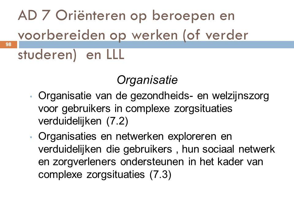 AD 7 Oriënteren op beroepen en voorbereiden op werken (of verder studeren) en LLL 98 Organisatie Organisatie van de gezondheids- en welzijnszorg voor gebruikers in complexe zorgsituaties verduidelijken (7.2) Organisaties en netwerken exploreren en verduidelijken die gebruikers, hun sociaal netwerk en zorgverleners ondersteunen in het kader van complexe zorgsituaties (7.3)