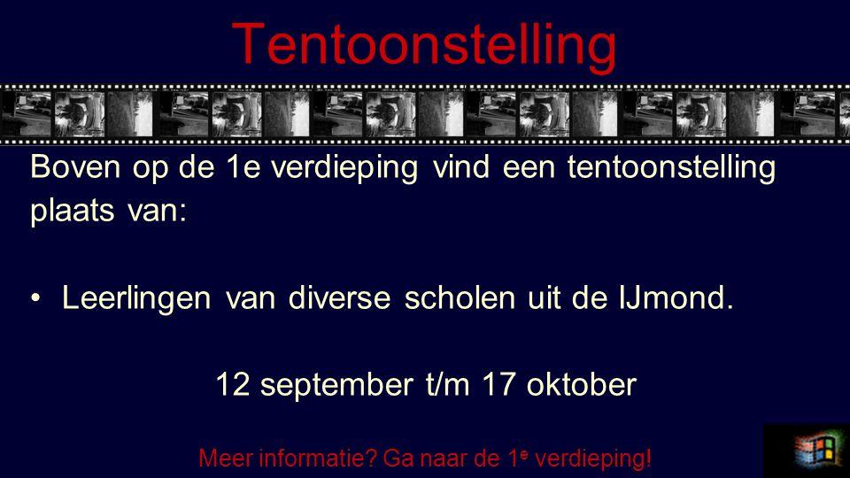 Tentoonstelling Boven op de 1e verdieping vind een tentoonstelling plaats van: Leerlingen van diverse scholen uit de IJmond. 12 september t/m 17 oktob