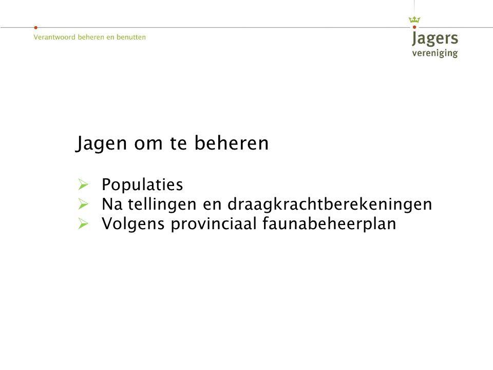 Jagen om te beheren  Populaties  Na tellingen en draagkrachtberekeningen  Volgens provinciaal faunabeheerplan