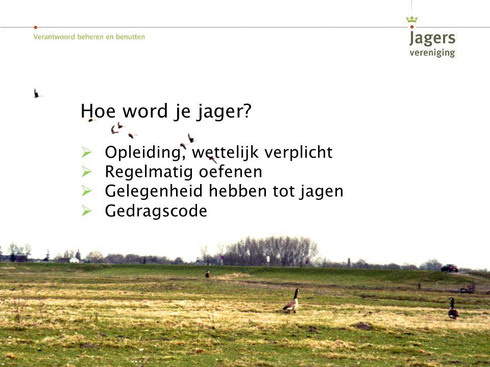 Hoe word je jager?  Opleiding, wettelijk verplicht  Regelmatig oefenen  Gelegenheid hebben tot jagen  Gedragscode