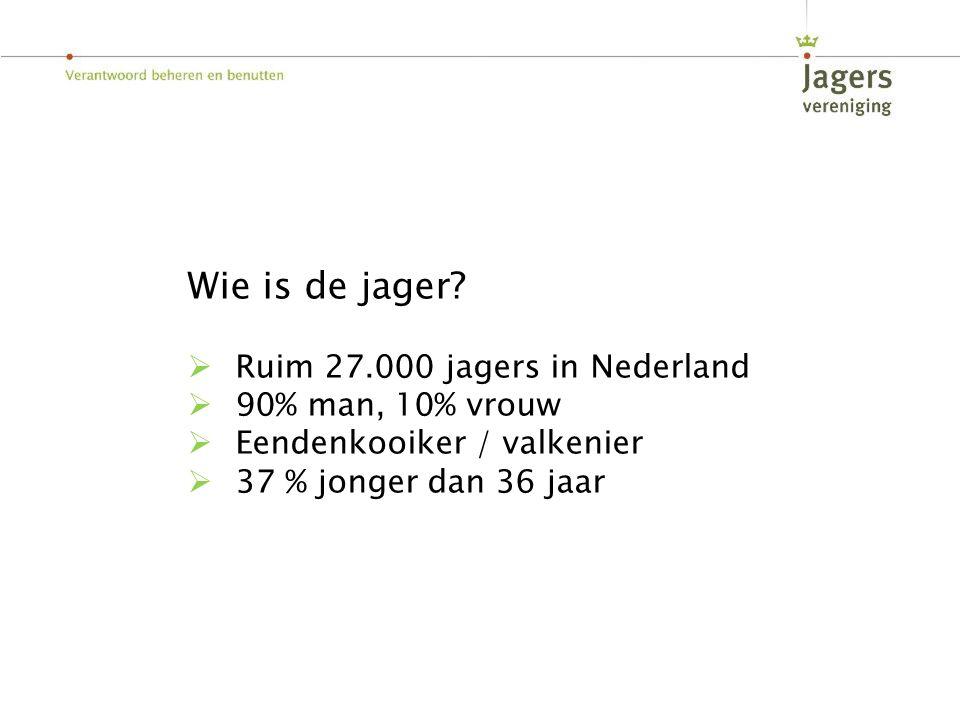 Wie is de jager?  Ruim 27.000 jagers in Nederland  90% man, 10% vrouw  Eendenkooiker / valkenier  37 % jonger dan 36 jaar