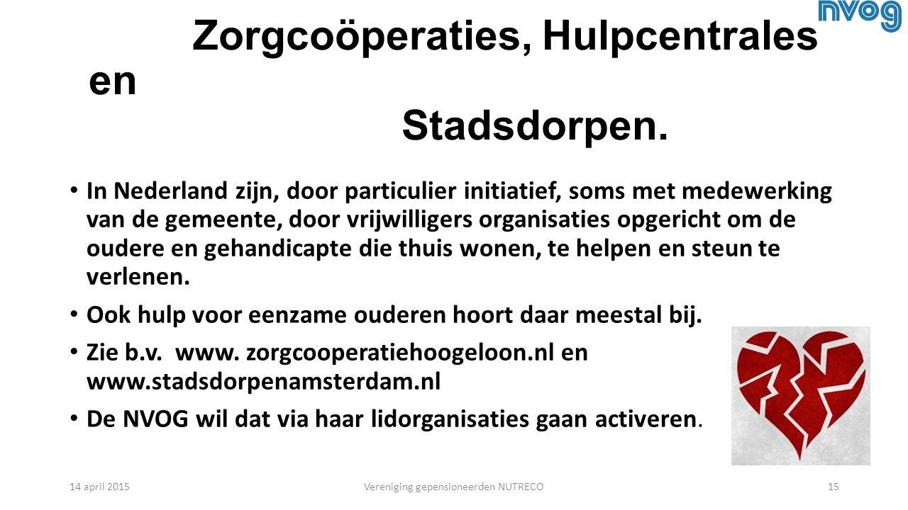 Zorgcoöperaties, Hulpcentrales en Stadsdorpen. In Nederland zijn, door particulier initiatief, soms met medewerking van de gemeente, door vrijwilliger