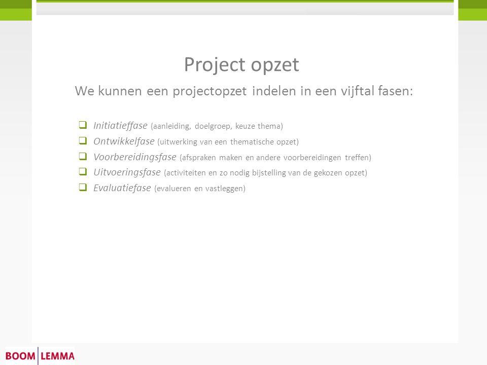 Project opzet  Initiatieffase (aanleiding, doelgroep, keuze thema)  Ontwikkelfase (uitwerking van een thematische opzet)  Voorbereidingsfase (afspr