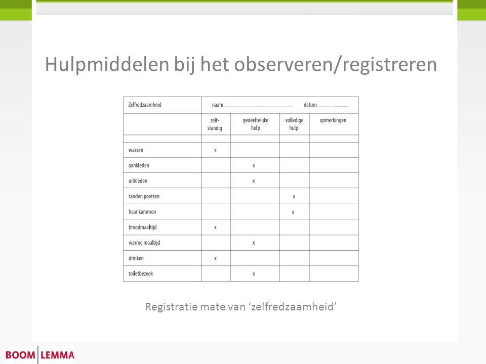 Hulpmiddelen bij het observeren/registreren Registratie mate van 'zelfredzaamheid'